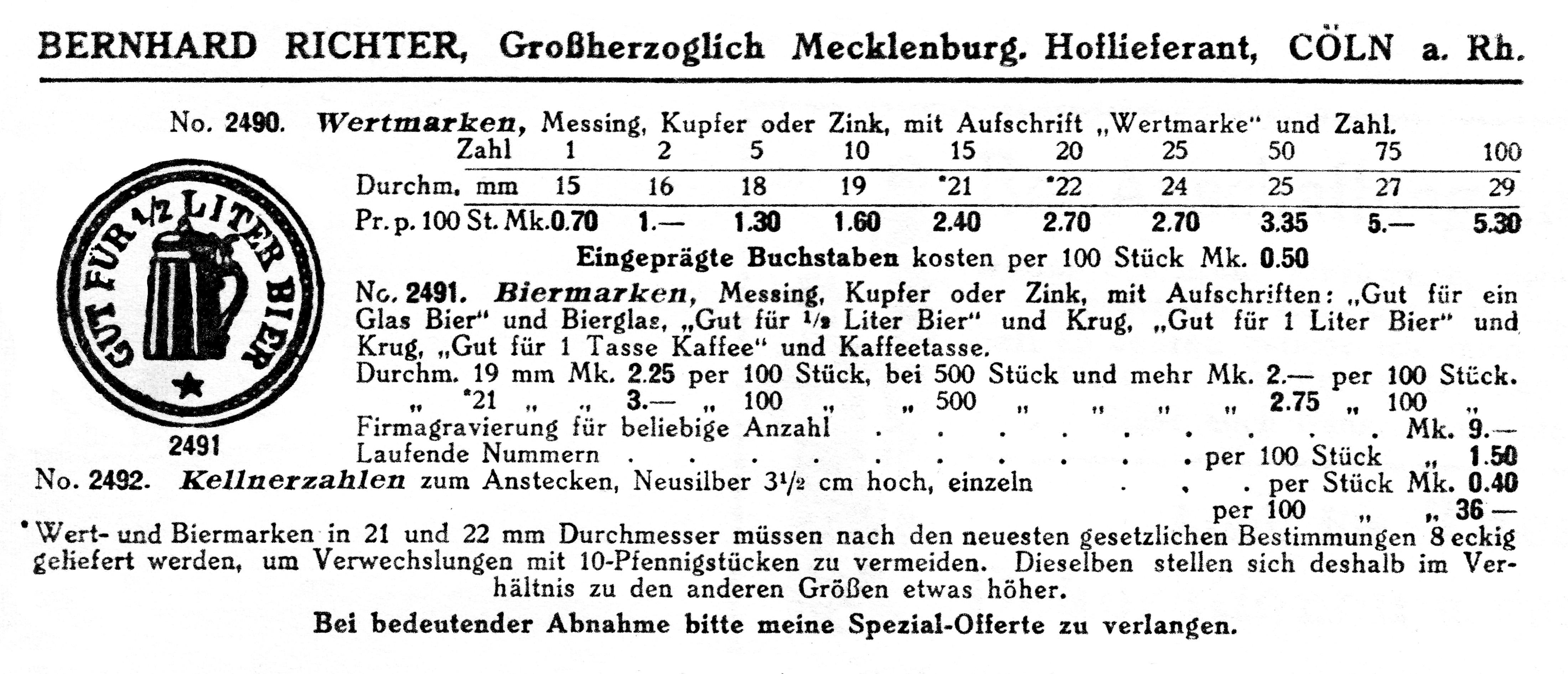 Verkaufskatalog Richter Köln 1914