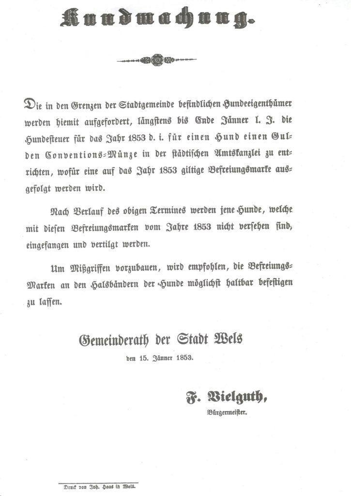 Hundesteuer Wels 1853 Kundmachung