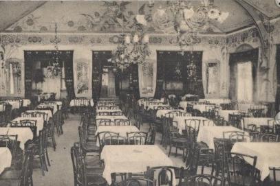 Einblick in die Räumlichkeiten des Hütteldorfer-Casinos (entnommen von einer zeitgenössischen Ansichtskarte)